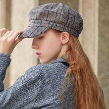 Vintage gorras sombrero octogonal mujer Plaid otoño ocio moda visera  exterior sombreros de Hip Hop de 2831ca729bf