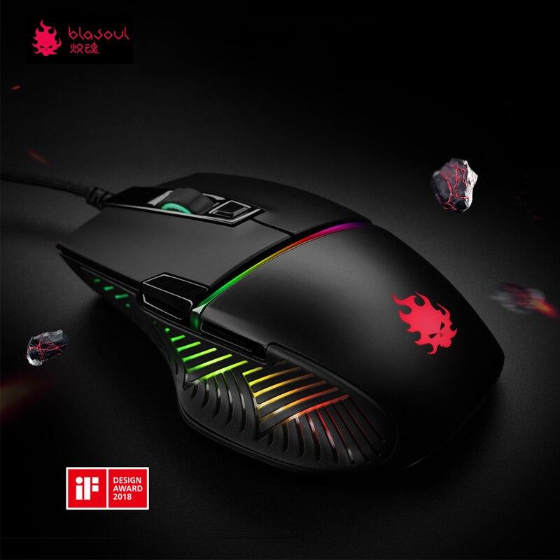 E-sport Mouse Blasoul Y720Lite 1000 ghz 12000 dpi RGB Retroilluminazione Programmabile Mouse Ottico con filo Gaming Mouse Velocità Massima 50g