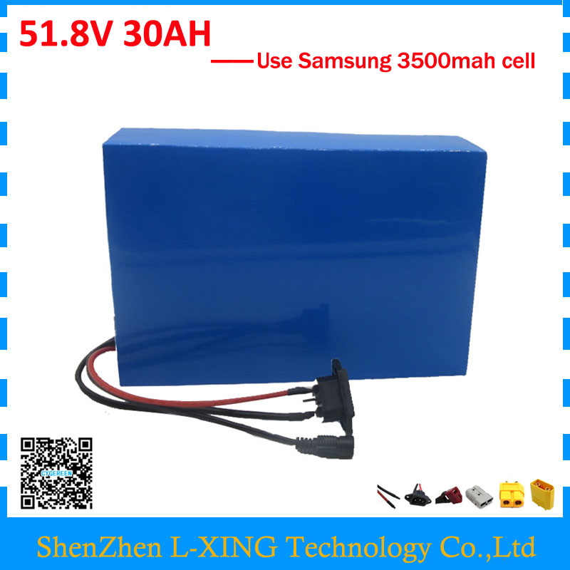 Free customs duty 51.8V 30AH battery pack 52V 30AH scooter battery 52V Lithium battery use samsung 3500mah cell 50A BMS free customs fee 1000w 36v 17 5ah battery pack 36 v lithium ion battery 18ah use samsung 3500mah cell 30a bms with 2a charger