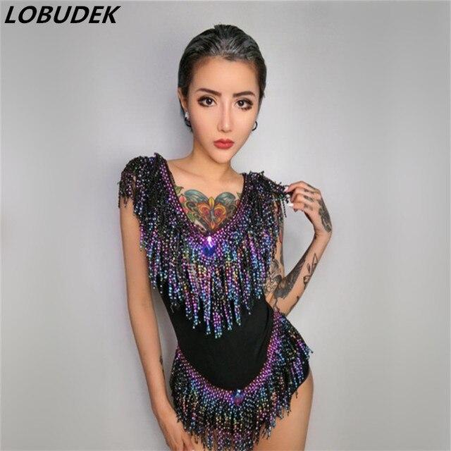 a865f9cd31 Flash rhinestones jumpsuit Bright Crystals tassels bodysuit women nightclub  stage costumes singer sexy slim performance catsuit