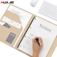 HUA JIE A4 Spiral Binder Notebook Business Card Holder Executive Write Pad Document Organizer Folder 80 Sheet Interview Padfolio