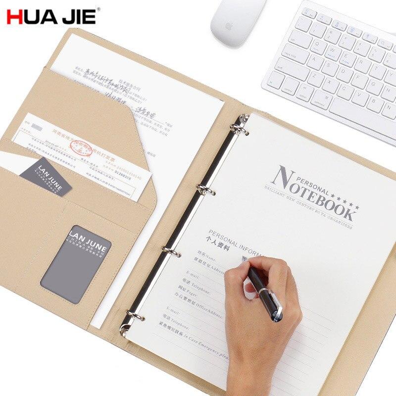 HUA JIE A4 Spirale Liant Portable Titulaire de la Carte D'affaires Exécutif Écrire Pad Document Organisateur Dossier 80 Feuille Entrevue Padfolio