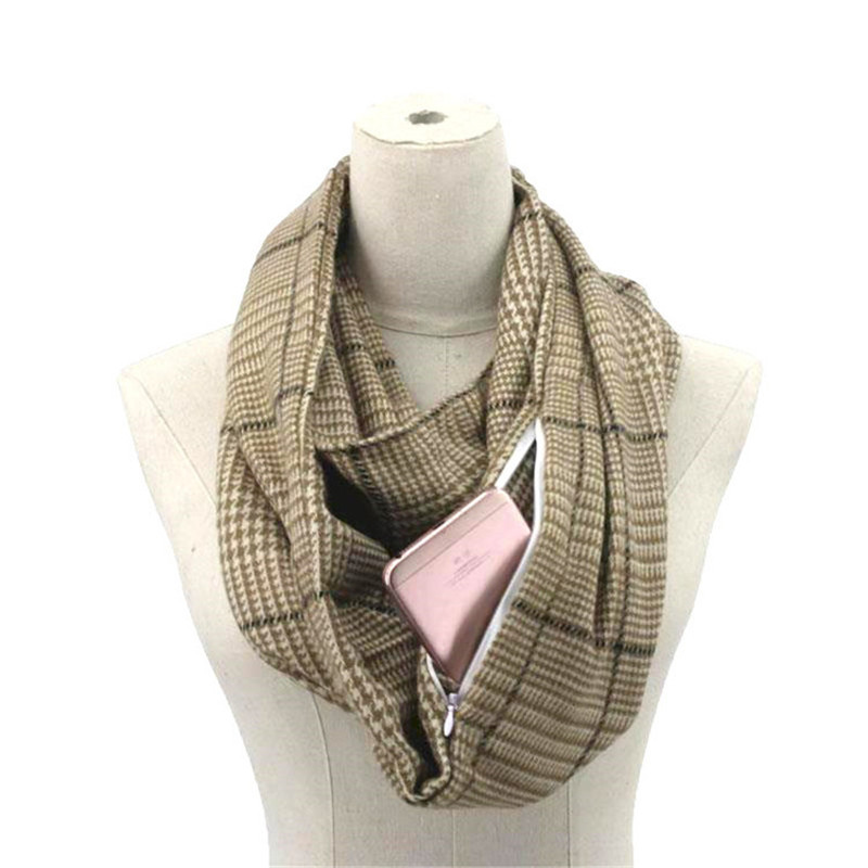 2019 winter Knitting Plaid warm Travel Infinity scarf with Hidden Pocket Cashmere Scarves Female Foulard Pashmina Lady blanket in Women 39 s Scarves from Apparel Accessories