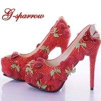 Роскошные свадебные обувь для выпускного бала Красный горный хрусталь Вишневый Дизайн индивидуальные Свадебная обувь на высоком каблуке б