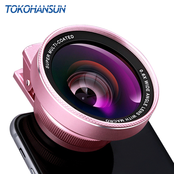 TOKOHANSUN Mobile Phone Lens 4k HD 0.6x Wide Angle + 15x Macro Lens for IPhone X 8 Huawei Smartphone No Distortion dropshipping