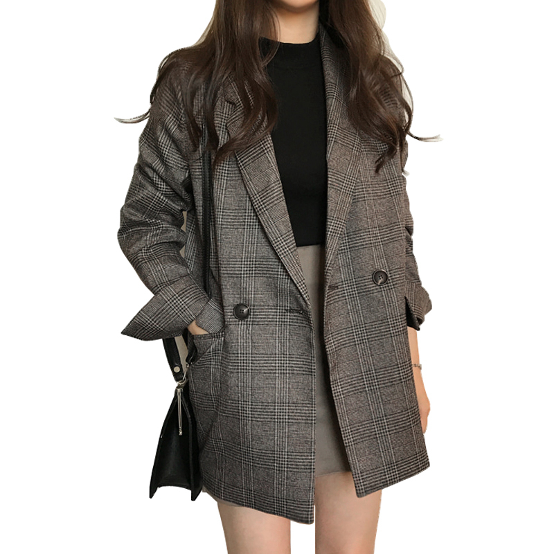 Big Size Retro Blazers For Women Lady office Autumn suit Jacket Long Sleeve Cotton Wild Ladies Jacket Europe Casual Vintage coat