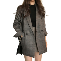Big Size Retro Blazers For Women Lady office Autumn suit Jacket Long Sleeve Cotton Wild Ladies Jacket Europe Casual Vintage coat