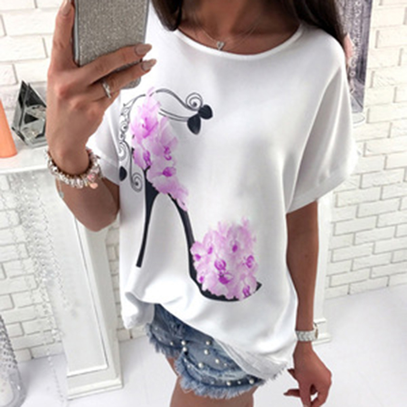 Women Short Sleeve High Heels Printed Tops Beach Casual Loose Top Shirt Fashion O-neck T-Shirt Female ho706994