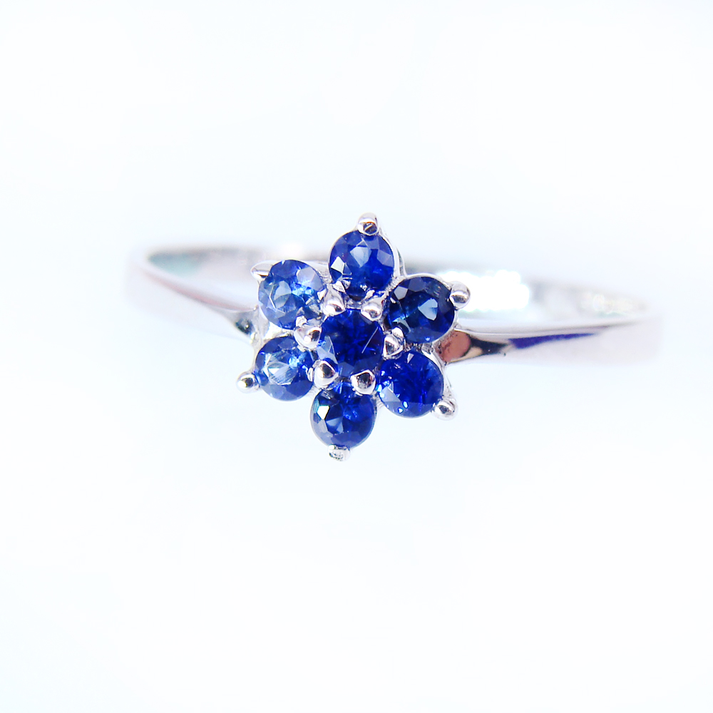 Natural Sapphire Ring 18k White Gold Women Fine Jewelry Blue Gemstone Ring  Valentine With Certificate Real