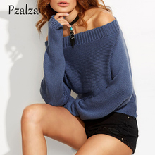 Pzalza Fashion Casual Off Shoulder Sweater Women Autumn 2017 Solid Knitted Sweater Slash Neck Long Sleeve knitted Jumper