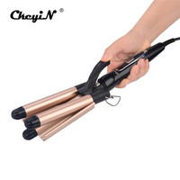 Professional 110 240V Hair Curler Ceramic Triple Barrel Wave Perm Splint Curling Wand with Heat resistant Glove Styling Tools