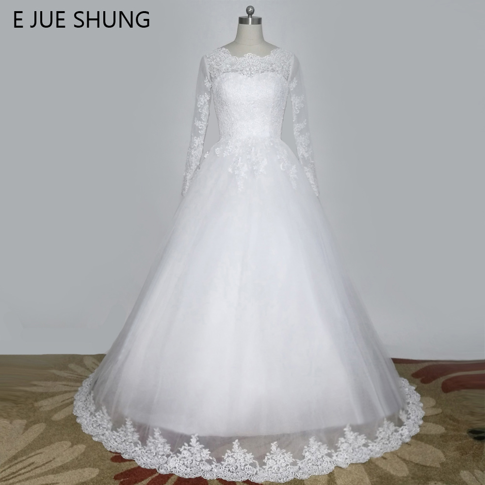 E JUE SHUNG Vintage Lace Appliques Long Sleeves Wedding Dresses Off the Shoulder Cheap Wedding Gowns trouwjurk