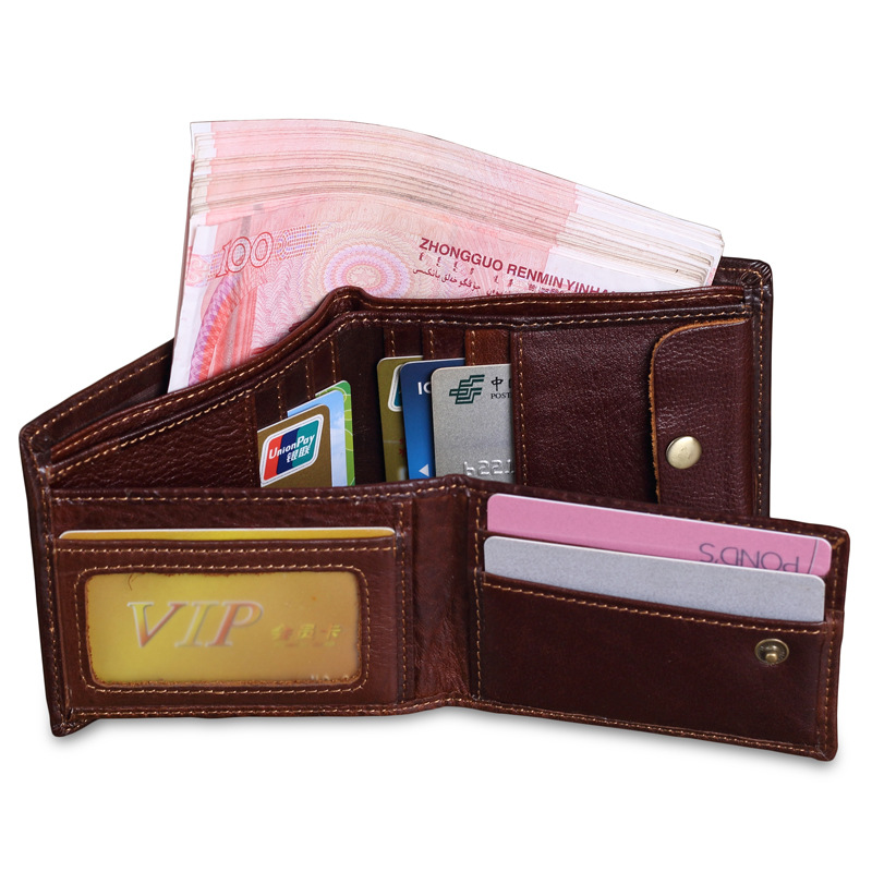 Top Quality Genuine Leather Men Wallets Vintage Bifold Designer Cow Leather Wallet Purse Travel Card id Holders Wallets Carteira