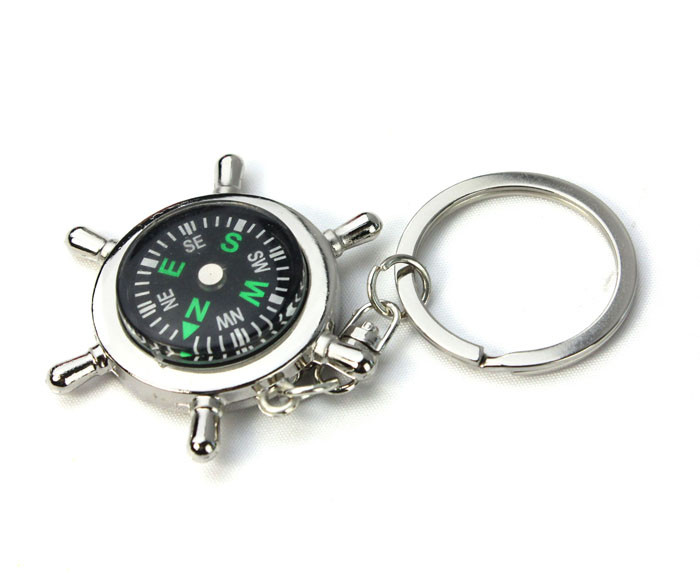 camping Hiking tool survival Multi tool trinket New Portable Alloy Silver Nautical Compass Helm Keychain Ring Chain Gift