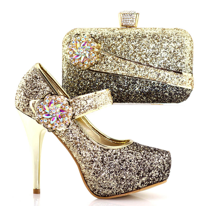 Black+Gold African Shoe and Bag Set for Party Matching Shoes and Bags for Wedding twinkling Italian Shoe with Matching Bag th16 38 gold free shipping high quality lady italian matching shoes and bag set for wedding and party in wholesale price