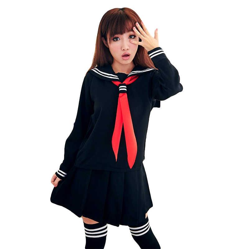 UPHYD Heißer Verkauf Anime Schuluniform Cosplay Japanischen Schülerin Navy Sailor Schuluniform Mit Rot Schal JK Uniformen LYX0701