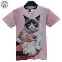 2017 Mr.1991INC trend Tshirt males/girls brief sleeve 3d t shirt humorous print Grumpy cat T-shirt males Top tees T38