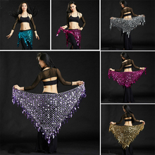 Hot Sell Sequin Triangle Belly Dance Hip Scarf Belt Skirt Tassel Argentina Crochet Belly Dancing Waist Chain Coins Belt 89