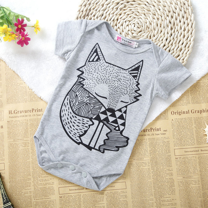 Summer Hot Newborn Clothes Kids Baby Boys Girls Cotton Foxes Romper 2019 Jumpsuit Newest Infant Outfits 0 24M Baby Girls Costume in Rompers from Mother Kids