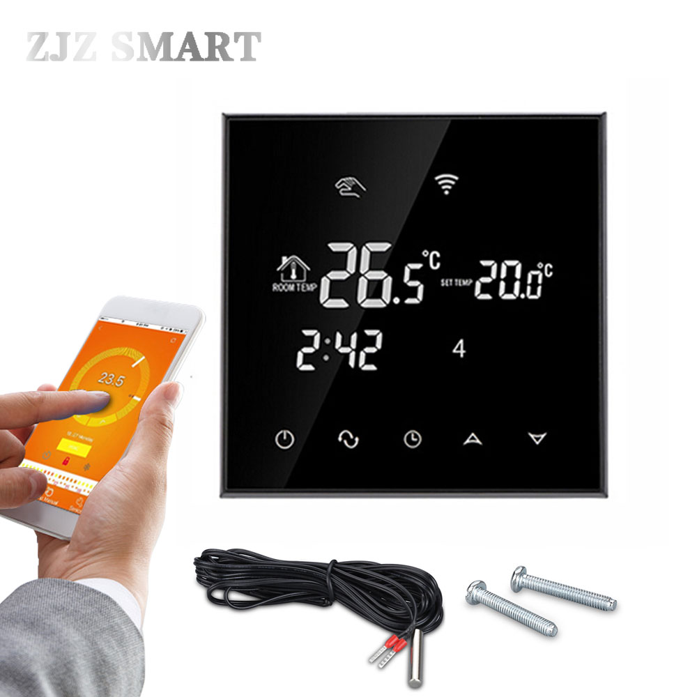 WiFi Touch Screen Thermostat Temperature Controller For Electric/ Water Floor Heating Water/Gas Boiler Works Weekly Programmable