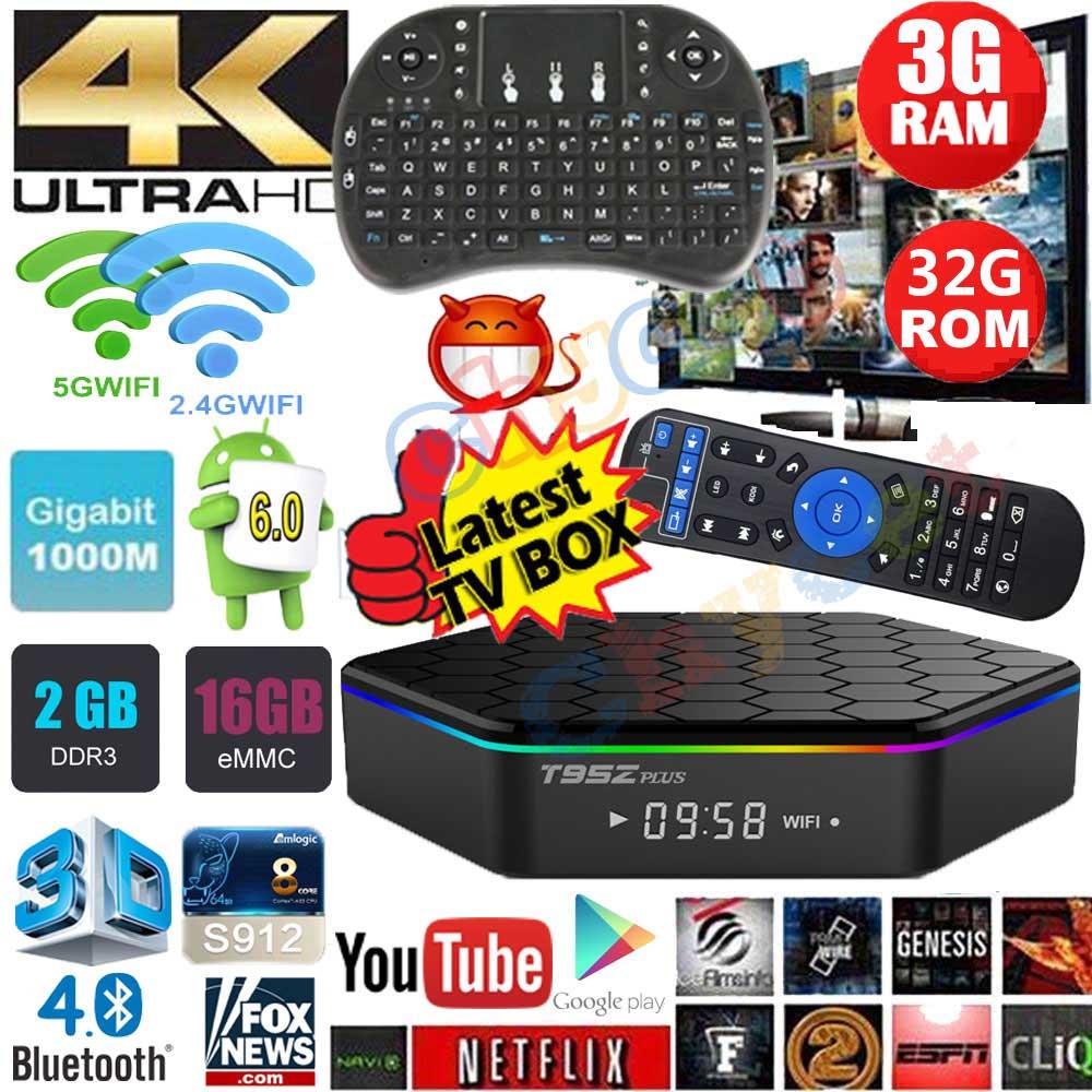 Prix pour T95Z Plus 2g 16g 3g 32g Android 6.0 tv box Amlogic S912 Octa Core Dual WiFi 1000 M Lan Smart TV Box 3D 4 K media player PK X96