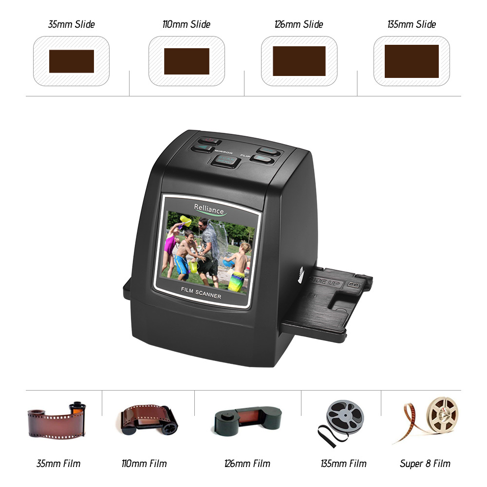 2.4in TFT LCD High Resolution 14MP/22MP Film Scanner Convert 35mm/135mm film Monochrome Slide Film Negative into Digital Picture-in Scanners from Computer & Office    2