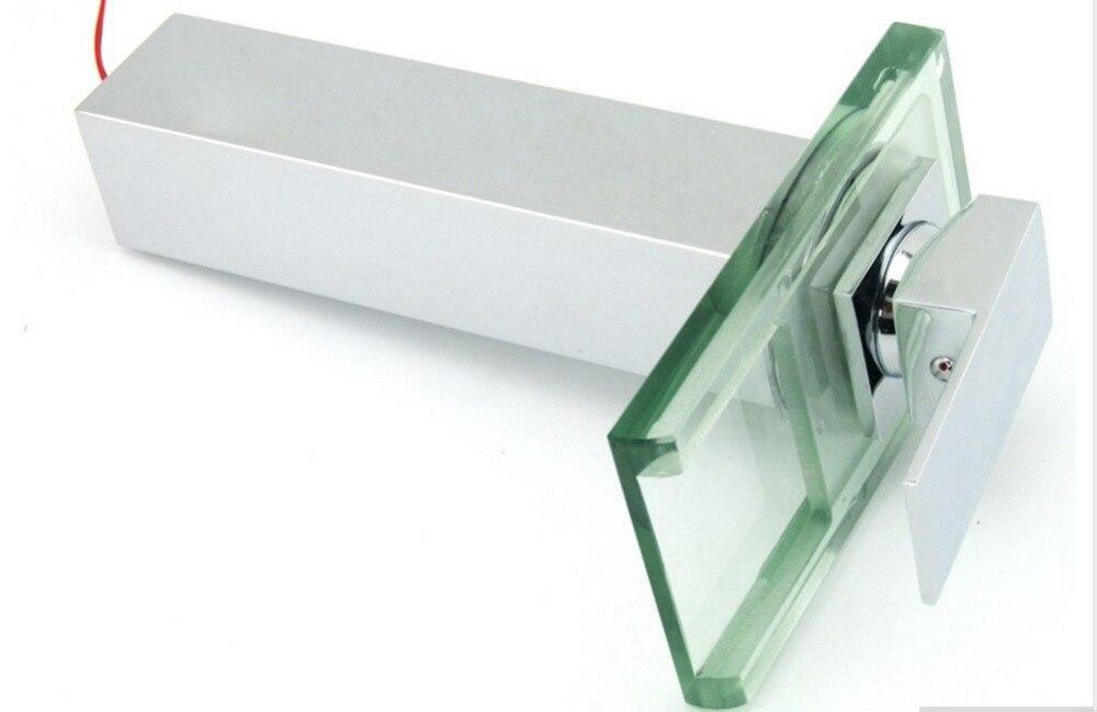 Bathroom Sink LED Glass Faucet, RBG 3 Colors Changing Light Waterfall Spout Single Hand Single Hole Mixe Tap/Faucet De