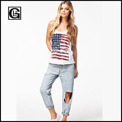 online shop blood sexy low cut tops american flag tank top