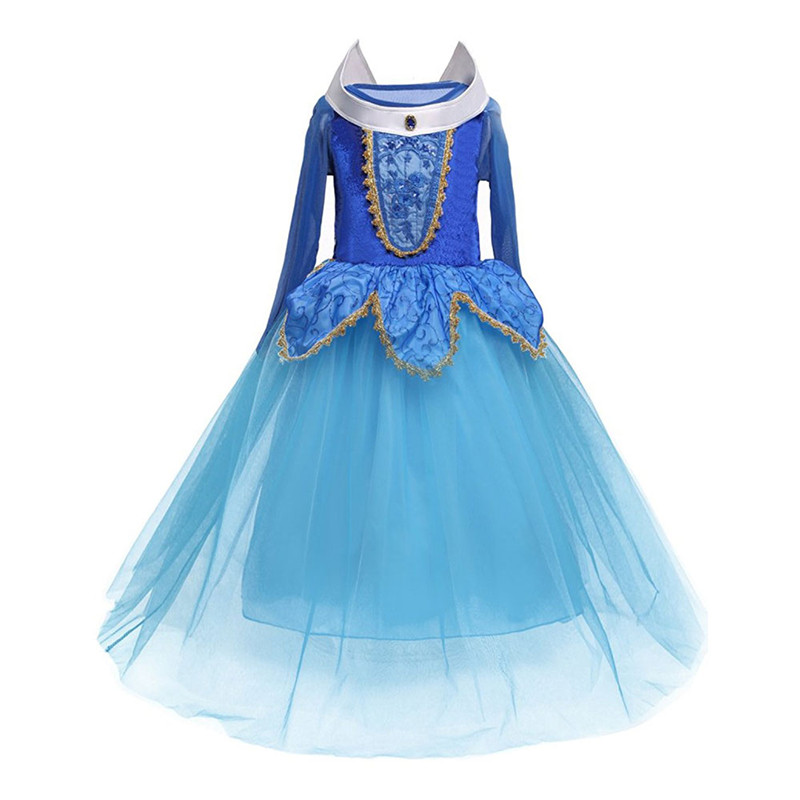 Girls Princess Sleeping Beauty Elsa Cinderella Girl Dress Kids Cosplay Dress Up Halloween Costumes For Kids Tulle Party Dress new spring fantasy girl princess sleeping beauty aurora dresses party kids costumes for girls fancy children girls cosplay dress