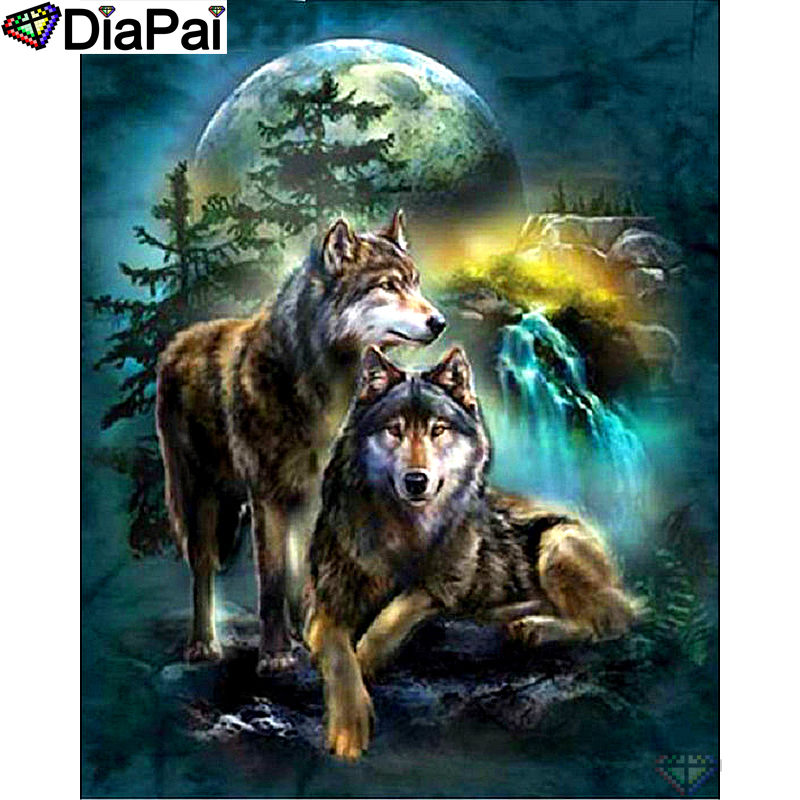 DIAPAI 5D DIY Diamond Painting 100 Full Square Round Drill quot Animal wolf quot Diamond Embroidery Cross Stitch 3D Decor A18521 in Diamond Painting Cross Stitch from Home amp Garden