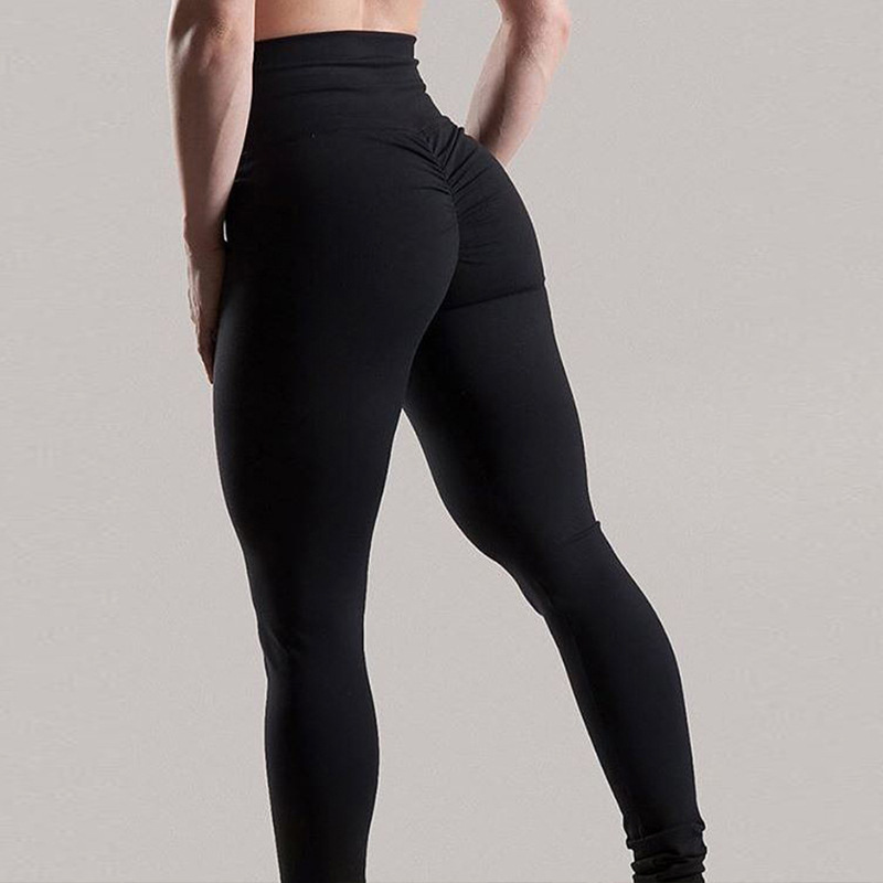 SALSPOR Solid Standard Fold Yoga Pants Women High Waist Push Up Tight Fitness Leggings Gym Women Running Workout Sport Leggings in Yoga Pants from Sports Entertainment