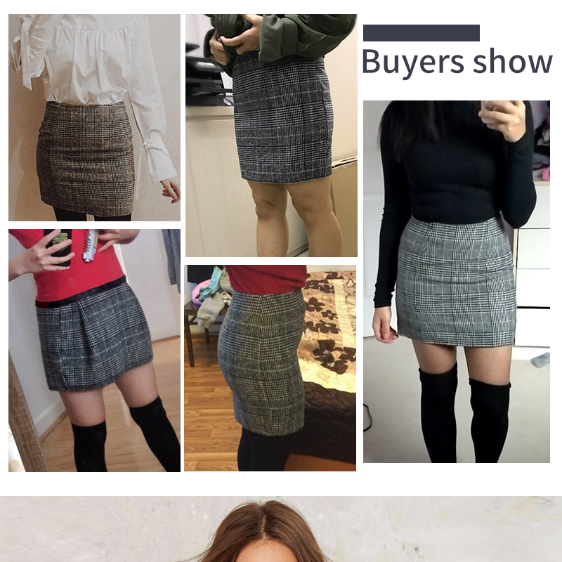 Haoduoyi Pencil Sexy High Waist Plaid Mini Short Skirt Casual Women Office Lady Buttoms Zipper Back Hot Sell The New Listing 2