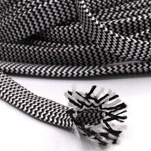 10 M bawełna pleciony rękaw biały czarny 7 12 MM izolacja oplot z drutu kabel kable do dławnic kablowych ochrona