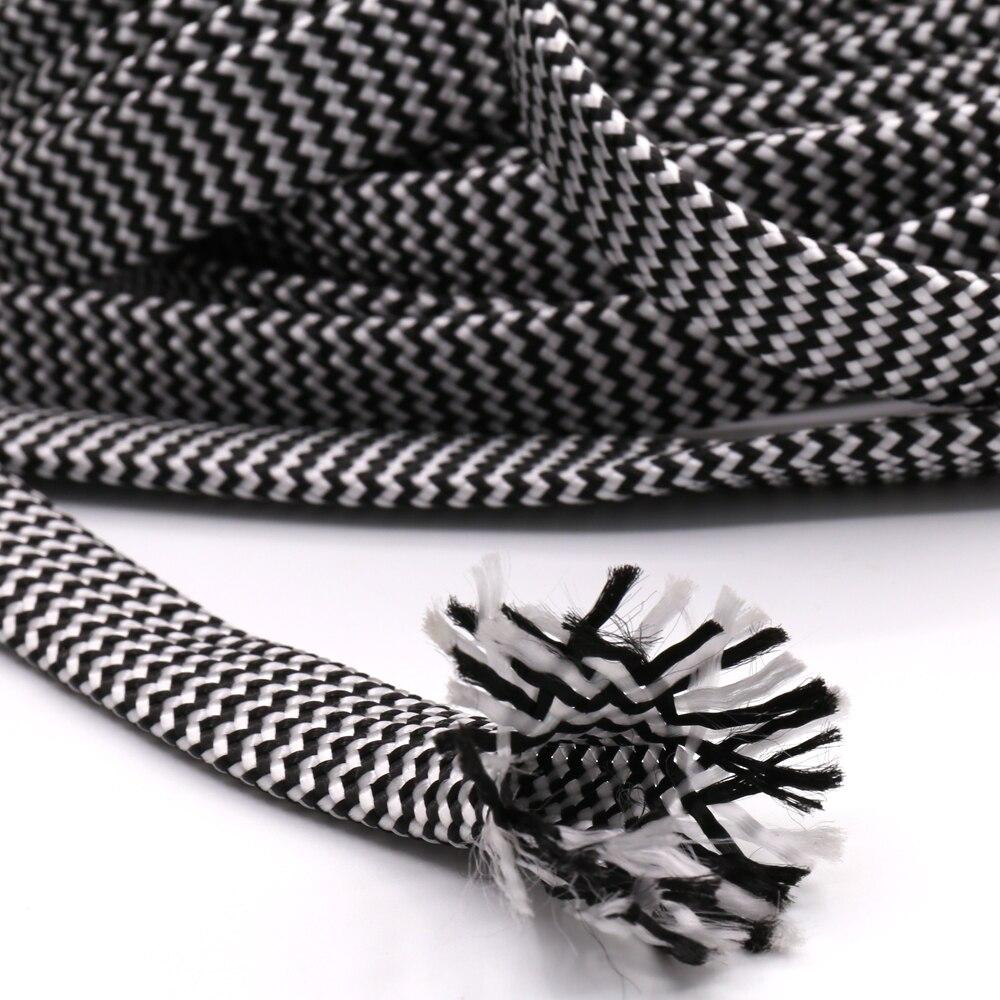 10 M coton tressé gainer blanc noir 7-12 MM isolation tressée gainer câble presse-étoupe câbles protection