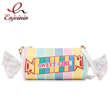 Tatlı şeker tasarım işlemeli harfler renk şerit Pu bayanlar el çantası omuzdan askili çanta Casual tote Crossbody Mini askılı çanta