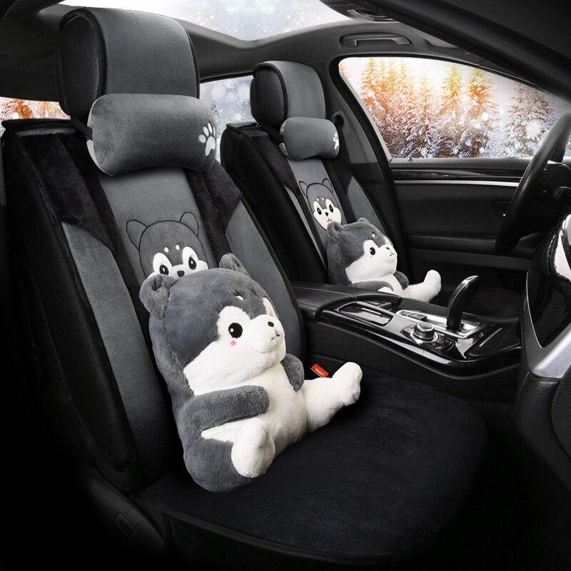 Bande dessinée mignon chien husky ours tirelire universel siège d'auto couverture de fourrure sièges chauffants auto couvre pour les voitures chauffage accessoires coussin ensemble