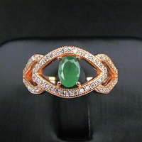 Natural Emerald Gem Ring Genuine 925 Sterling Silver Precious Stones Rings Gold Plated Women Fine Gems
