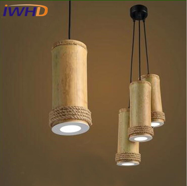 Single Head LED Pendant Lamp For Bedroom Creative Bamboo Pendant ...