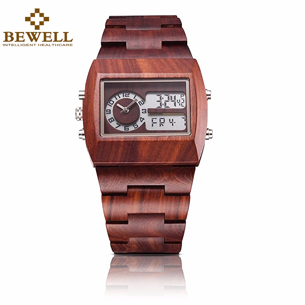BEWELL Wooden Men Watch Electronic Multi function Luminous Big Square Digital Sandalwood Watches Male montre bois