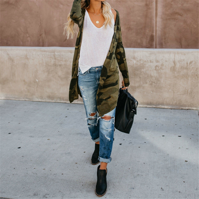 Fashion Spring Autumn New Womens Leopard Kimono Cardigan Open Front Boho Camo Bodycon Long Sleeve Long Slim Sweaters Streetwear