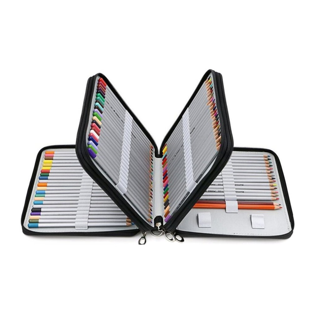 120 Holder 4 Layer Portable PU Leather School Pencils Case Large Capacity Pencil Bag For Colored Pencils Watercolor Art Supplies 72 holder 3 layers portable pu leather pencils case school stationery large capacity pencil bag for colored pencil art supplies