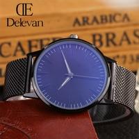 DELEVAN Luxury Watch Men Brand Men S Watches Ultra Thin Stainless Steel Mesh Band Quartz Wristwatch