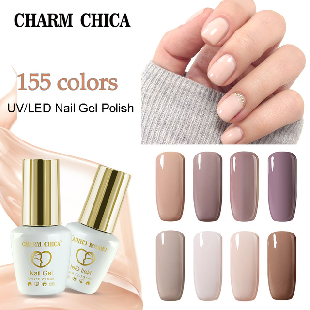 קסם Chica ג 'ל לק UV 6 ml עירום ורוד צבע משרים Off ג' ל לכה לכה נייל אמנות vernis חצי Permanant UV 02