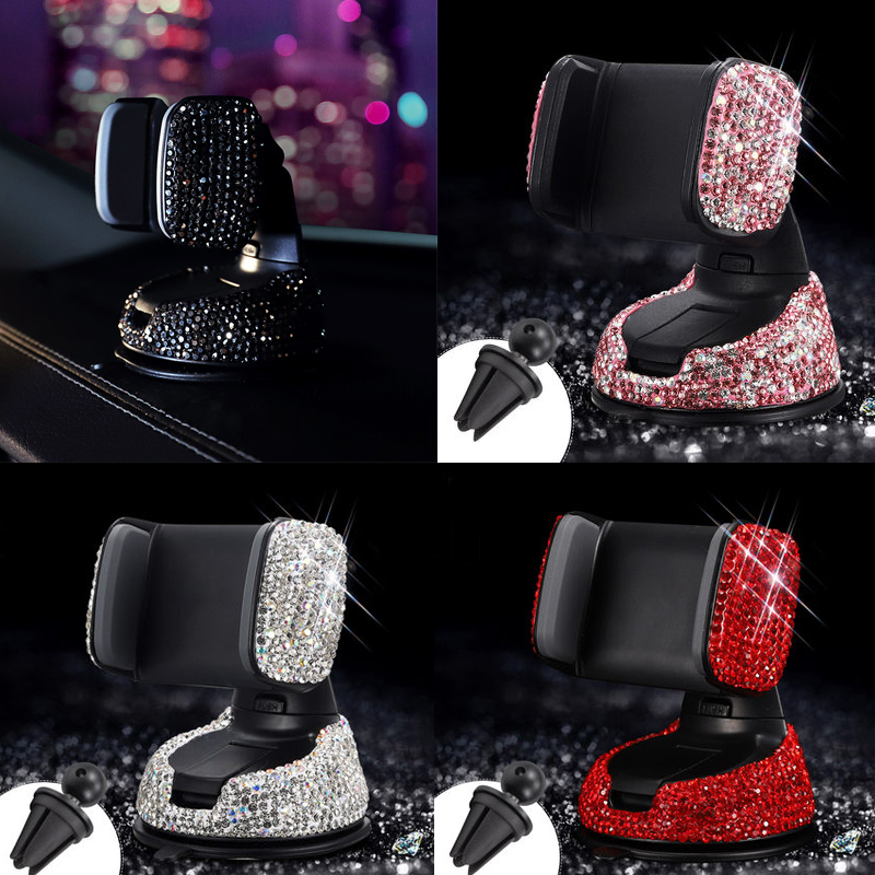 3 in 1 360 Degree Car Phone Holder for Car Dashboard Auto Windows and Air Vent with DIY Crystal Diamond Type for BMW for Toyota-in Universal Car Bracket from Automobiles & Motorcycles