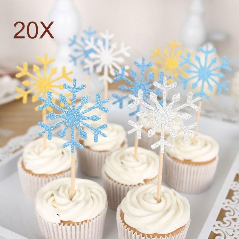 20Pcs/Set Christmas Cake Topper Paper Wood Handmade Wedding Snowflake DIY Cupcake Toppers
