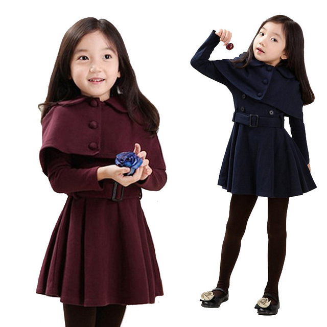 9518a13c6 Autumn Winter Baby Girl Jackets Dress Set Toddler Kids Clothes ...