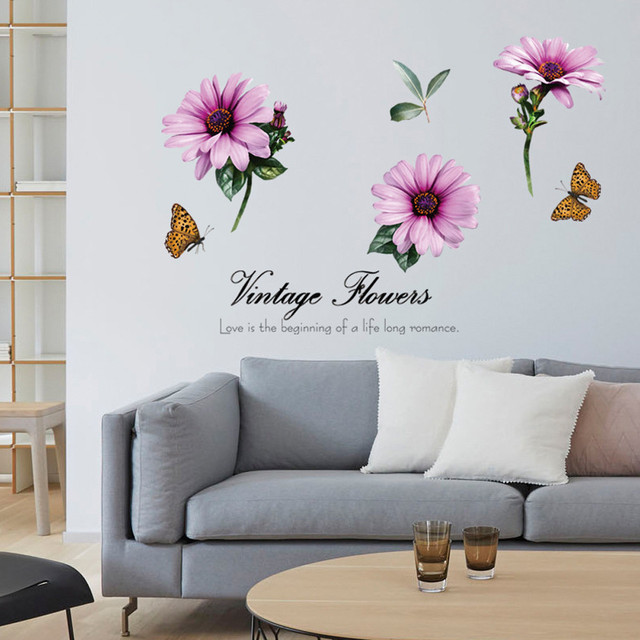 vintage flower quotes large chrysanthemum wall stickers tv