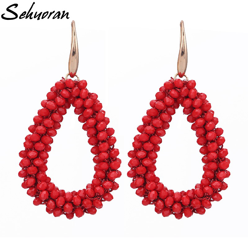 Sehuoran Brincos Dangle Earrings For Woman Crystal Faceted Beads Handmade Pendants Oorbellen Brand Fashion Jewelry WholesaleSehuoran Brincos Dangle Earrings For Woman Crystal Faceted Beads Handmade Pendants Oorbellen Brand Fashion Jewelry Wholesale