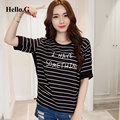 2016 Black And White Stripe Letters Print T Shirt Women Oversized Summer Tops Tee Patchwork Chiffon T-Shirt Female Plus Size XXL