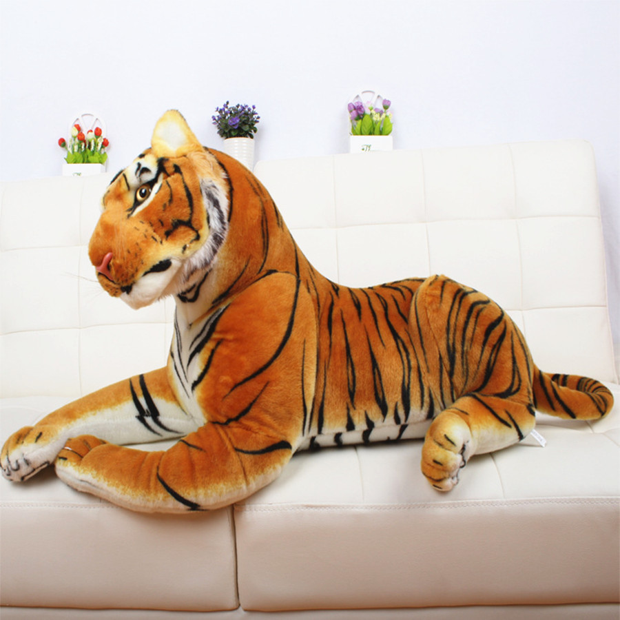 50cm 110cm King Of Forest Simulation Yellow White Tiger Stuffed Plush Toy Doll Model Sofa Car Cushion Hold Pillow Kids Baby Gift